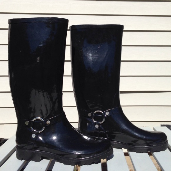 ALDO Boots - Aldo Black Patent Leather Rain Boots 2