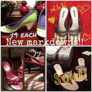 New MARKDOWNS! Awesome shoes/sandals each for $9