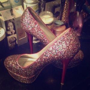 Ladies Qupid Multi color pink sparkle heels