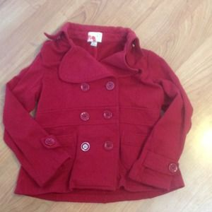 Red, double-breasted pea coat