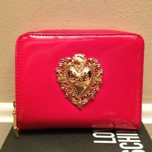Authentic Love Moschino Lipstick Red Vinyl Wallet