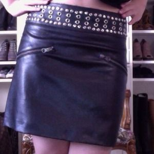 New edgy leather skirt.