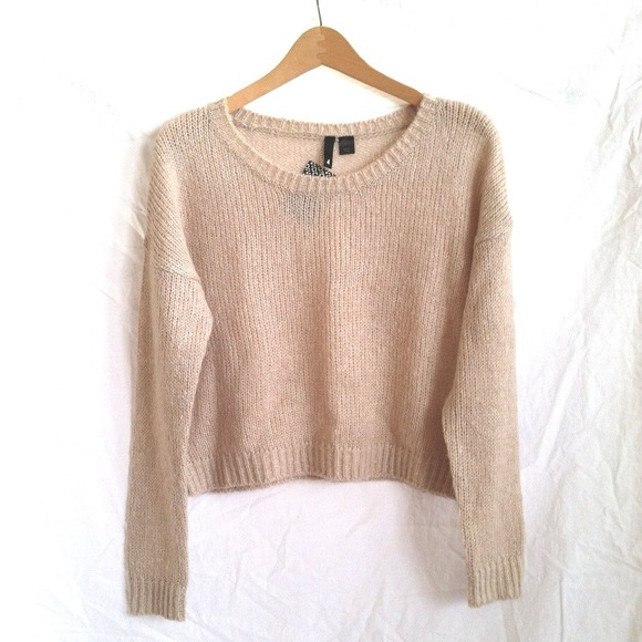 39% off H&M Sweaters - H&M Light Beige Knitted Cropped Sweater ...