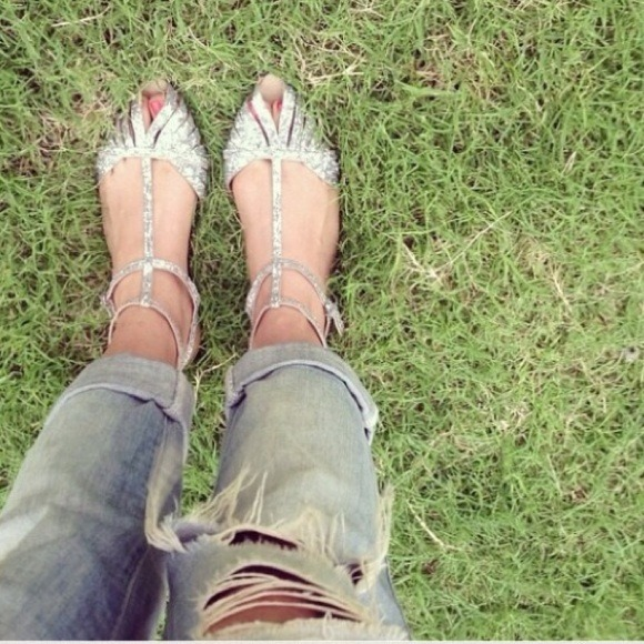 Zara 🎉host Pick🎉zara Glitter Ankle Strap Flat Sandals