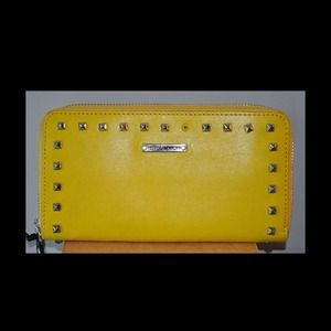 Rebecca Minkoff large yellow studded zip wallet