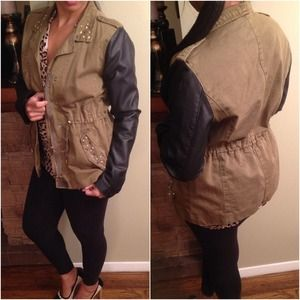 Chic utility Olive&black faux leather Jacket