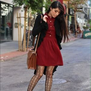 Charlotte Russe Dresses & Skirts - ✨Host Pick✨Burgundy Collared dress w/gold buttons