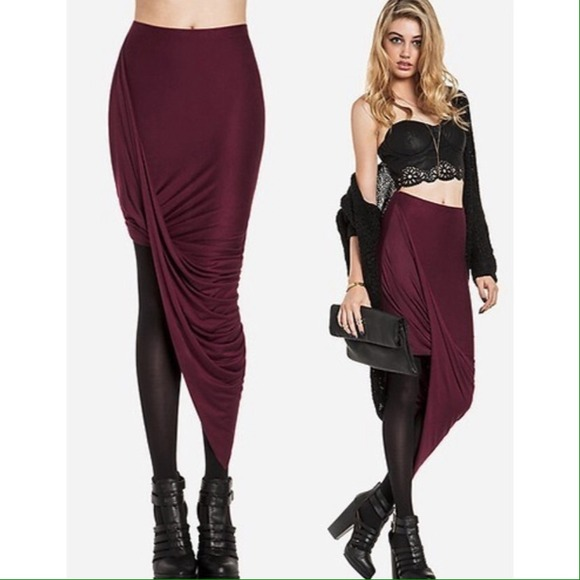 sold burgundy asymmetrical twist high low skirt l from