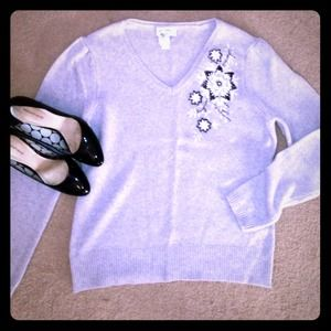 LOFT Sweaters - Lightweight Grey Sweater with Embroidered Flowers