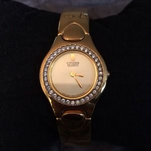 Citizen Accessories - Citizen Gold Watch with Crystals