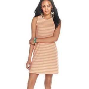 Taupe and coral striped dress