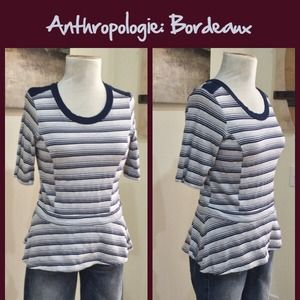 Anthropologie Tops - Anthro Striped Elbow Sleeve Top by Bordeux