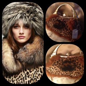 Handbags - Leopard handbag silver metal handle with crystals