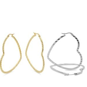 Jewelry - New❤️ 50mm Heart Hoops 1 pair Gold only