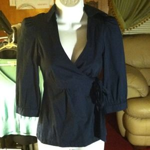 FINAL REDUC! Anthro Odille navy side tie wrap top