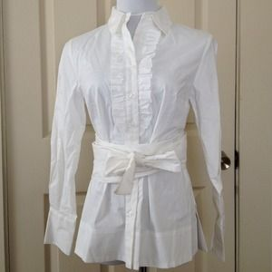 mark.  Tops - Button Down Ruffle Front Shirt with Wide Belt