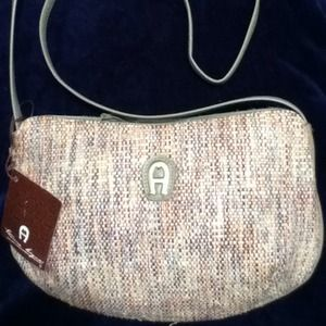 Vintage Aigner Woven Purse w/ Leather Trim NWT