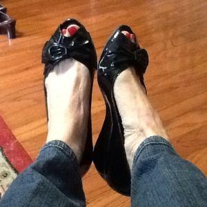 Black Patent Peep Toe wedge, 7 M.