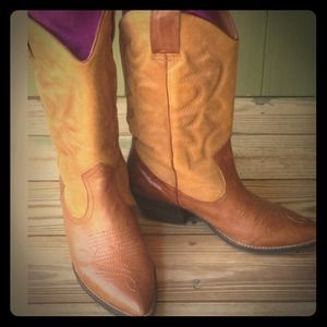 Aldo leather and suede cowboy boots