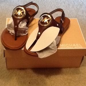 MK brown leather sandals