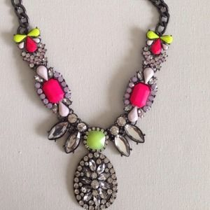 Neon stones necklace gunmetal