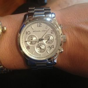 Michael Kors runway chronograph silver watch