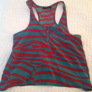Bold patterned silky tank top in turquoise and red