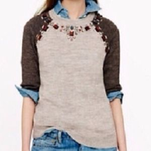 J. Crew Sweaters - NWT J. Crew Jeweled Sweater in Nickel Titanium