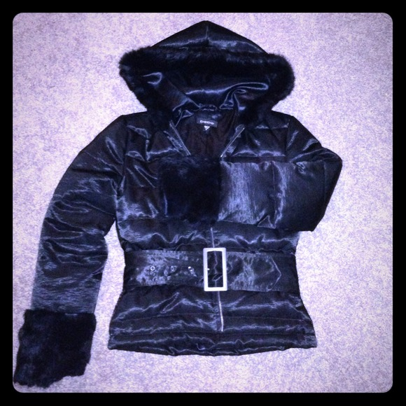 bebe Jackets & Coats | Black Satin Puffer Winter Coat W