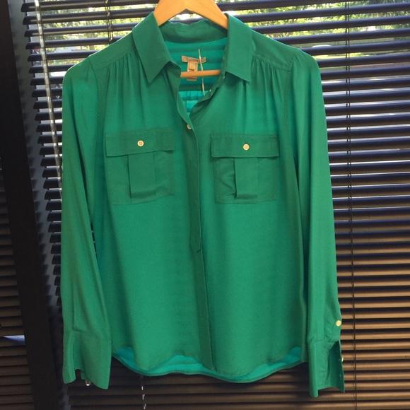 1e09b33b87ca5f J.Crew Kelly Green Blythe Silk Shirt