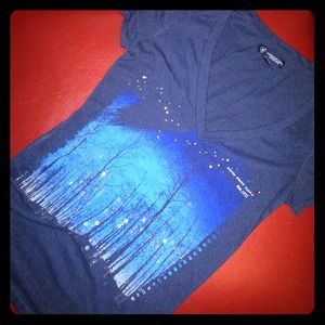 American Eagle navy blue blingy starry night shirt