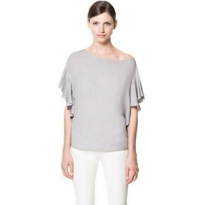 Zara Tops - Zara Blouse with Asymmetrical Frill