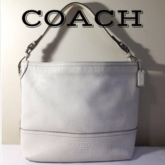 90% off Coach Handbags - COACH 5715 White Pebbled Leather Bucket ...