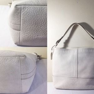 65b1058209a6 Coach Bags - COACH 5715 White Pebbled Leather Bucket Handbag