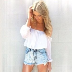 White Off The Shoulder Chiffon Top