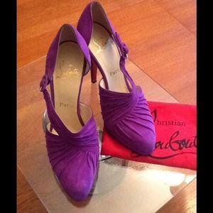 Christian Louboutin Auth. Purple Suede Heels 38.5