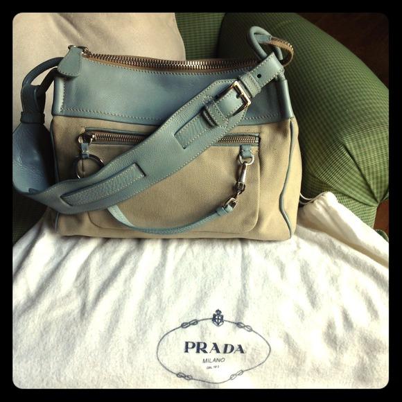 48bfc946b4a 🎀AUTHENTIC🎀 PRADA Blue Leather   Canvas Bag. M 52572c61c3c91554ad03bf7e