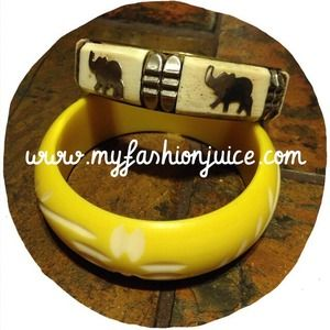 Yellow and elephant bangles