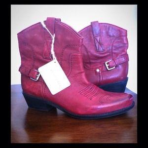 Franco Sarto Shoes - Franco Sarto Red Leather Boots