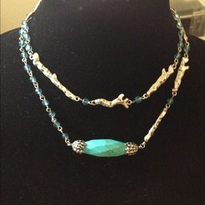 Jessica Simpson Silver-tone Turquoise Necklace NWT