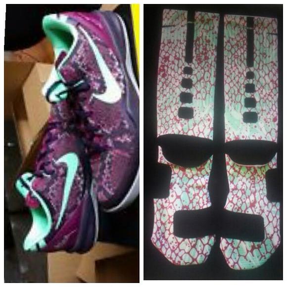 ea896a81c548 Kobe 8 Pit Viper With Costume Elite Nike Socks