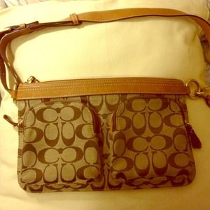 Coach monogram handbag, fanny pack.