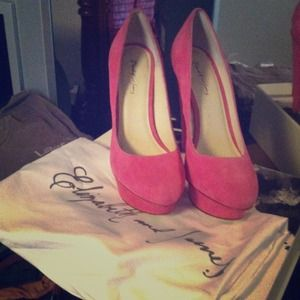 Elizabeth and James hot pink suede heels