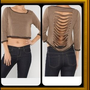 Tops - Cropped Sliced  Sweater