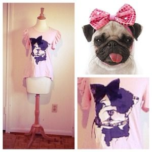 SALEHP Pretty In Pastel Pink Pug + Lace Bow