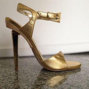 Bebe Gold Heel Sandal Size 6
