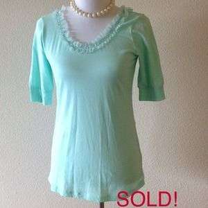 BUNDLED. pale turquoise top with chiffon ruffle