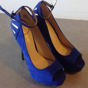 sole society Shoes - Royal blue peep toe shoes