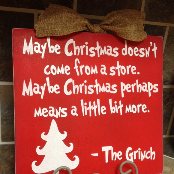 Hand Painted Grinch Christmas Sign