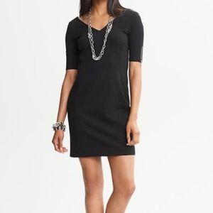 Black Pointe Knit V-Neck Dress